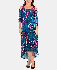 NY Collection Floral-Print Velvet Dress