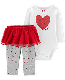 Carter's Baby Girls 2-Pc. Heart-Print Bodysuit & Tutu Leggings Set