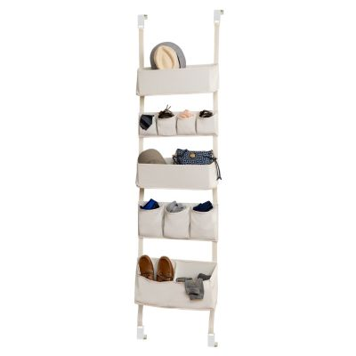 Cream-Coloured injoy Hanging Organizer Door Wall Hanging Closet Storage 4 Large Pockets Clothes,Kids Accessory Storing