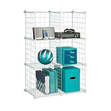 6 Pack Modular Mesh Storage Cube, White