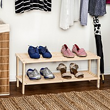 2-Shelf Wood Shoe Rack
