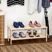 2-Shelf Wood Shoe Rack