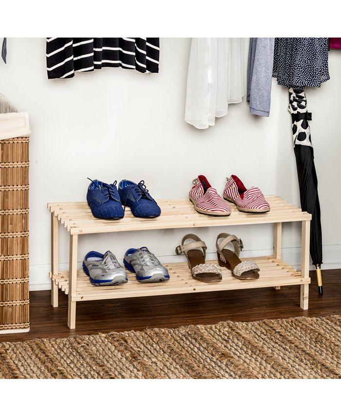 Honey Can Do - 2-Shelf Wood Shoe Rack