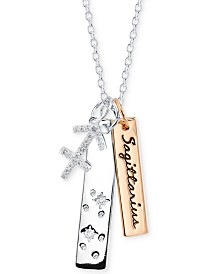 """Unwritten Cubic Zirconia Constellation Sagittarius Zodiac 18"""" Pendant Necklace with Two-Tone Silver Plate & Stainless Steel"""