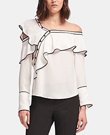 DKNY Ruffled One-Shoulder Top, Created for Macy's