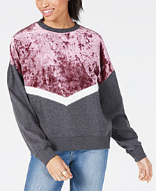 Freshman Juniors' Velvet Chevron Sweatshirt
