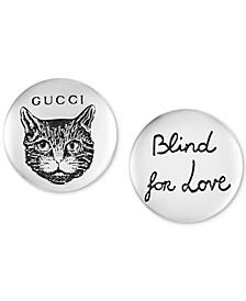 """Blind for Love"" Cat Stud Earrings in Sterling Silver"
