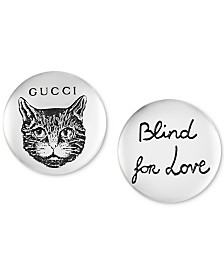 "Gucci ""Blind for Love"" Cat Stud Earrings in Sterling Silver"