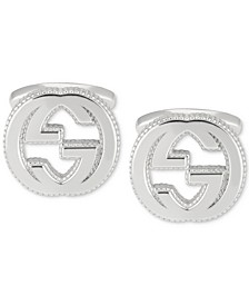 Men's Interlocking Logo Cuff Link in Sterling Silver