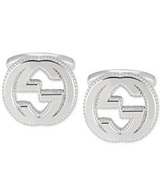 Men's Interlocking Logo Cuff Link in Sterling Silver