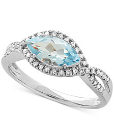 Aquamarine (9/10 ct. t.w.) & Diamond (1/8 ct. t.w.) Marquise Ring in 10k White Gold