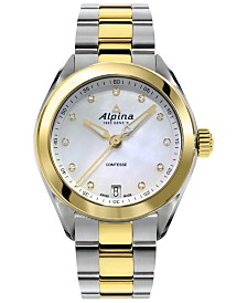 Alpina Women's Swiss Comtesse Diamond-Accent Two-Tone Stainless Steel Bracelet Watch 34mm