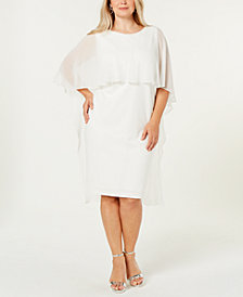 Calvin Klein Plus Size Chiffon-Cape Dress