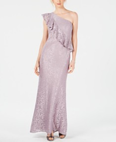 9fe89a78ae2 Jessica Howard Lace Ruffle One-Shoulder Gown