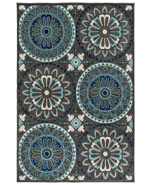 "Surya CLOSEOUT! CLOSEOUT! Portera PRT-1065 Navy 3'9"" x 5'8"" Area Rug, Indoor/Outdoor"