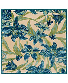 "Portera PRT-1073 Teal 7'6"" Square Area Rug, Indoor/Outdoor"
