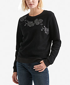 Lucky Brand Cotton Fleece Floral-Embellished Sweatshirt