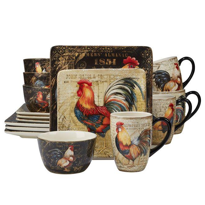 Certified International Gilded Rooster 16-Pc. Dinnerware Set