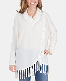 NY Collection Fringe Cowl-Neck Sweater