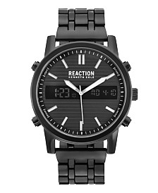 Kenneth Cole Reaction Men's Analog-Digital Black-Tone Stainless Steel Bracelet Watch 44mm
