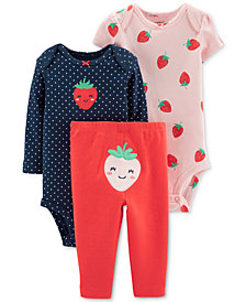 Carter's Baby Girls 3-Pc. Cotton Strawberry Bodysuits & Pants Set