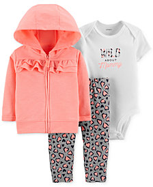 Carter's Baby Girls 3-Pc. Cotton Hoodie, Bodysuit & Leggings Set