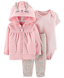 Carter's Baby Girls 3-Pc. Cotton Bunny Hoodie, Striped Bodysuit & Floral-Print Pants Set