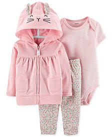 Carter's Baby Girls 3-Pc. Cotton Bunny Hoodie, Striped Bodysuit & Floral-Print Pants Set