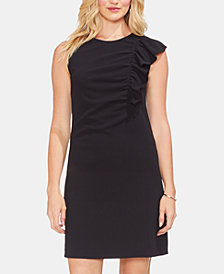 Vince Camuto Asymmetrical Ruched Ruffle Dress