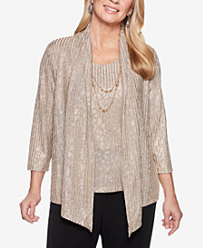 Alfred Dunner Shining Moments Damask Layered-Look Necklace Top