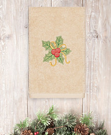 Linum Home Textiles Christmas Holly Bunch - Embroidered Luxury 100% Turkish Cotton Hand Towel
