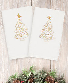 Linum Home Christmas Tree Scroll 100% Turkish Cotton 2-Pc. Hand Towel Set