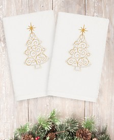 Linum Home Christmas Tree Scroll 100% Turkish Cotton Hand Towel Collection
