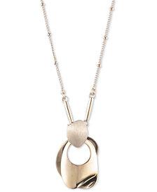 "Carolee Gold-Tone Sculptural Pendant Necklace, 18"" + 2"" extender"
