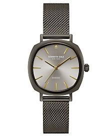 Kenneth Cole New York Ladies Diamond Gun Metal Mesh Bracelet Watch 34mm