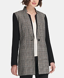 DKNY Printed Longline One-Button Jacket