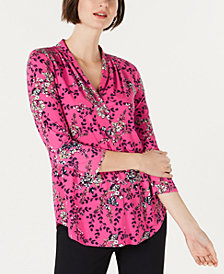 Charter Club Printed Pleated 3/4-Sleeve Top, Created for Macy's