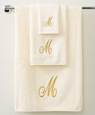 "Bath Towels, Monogram Initial Script Ivory and Gold 27"" x 52"" Bath Towel"