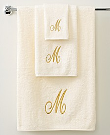 Bath Towels, Monogram Initial Script Ivory and Gold Collection