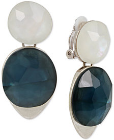 Robert Lee Morris Soho Silver-Tone Stone Clip-On Double Drop Earrings