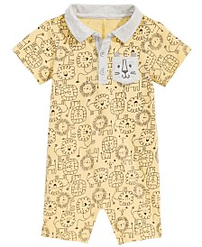 First Impressions Baby Boys Collared Lion-Print Cotton Romper, Created for Macy's
