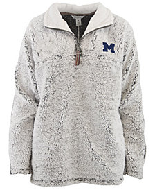 Pressbox Women's Michigan Wolverines Sherpa Quarter-Zip Pullover