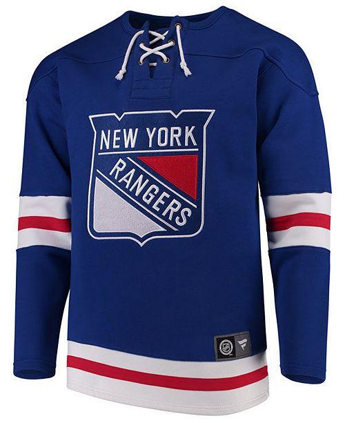 Majestic Men's New York Rangers Breakaway Lace Up Crew Sweatshirt