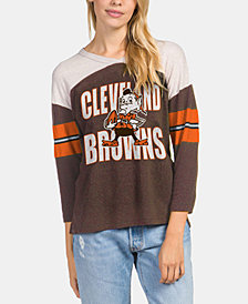 Authentic NFL Apparel Women's Cleveland Browns Liberty Throwback Raglan T-Shirt