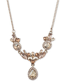 "Givenchy Gold-Tone Crystal Cluster Necklace, 16"" + 3"" extender"