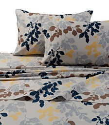 Tribeca Living Barcelona Leaf Printed Cotton Percale Extra Deep Pocket Cal King Sheet Set
