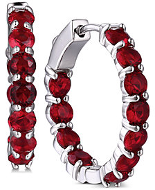 Tiara Cubic Zirconia In & Out Large Hoop Earrings in Sterling Silver