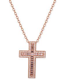 "Tiara Cubic Zirconia Cross 18"" Pendant Necklace"