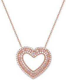 """Tiara Cubic Zirconia Baguette Heart 18"""" Pendant Necklace in Sterling Silver"""