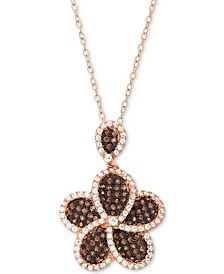 "Cubic Zirconia Flower 18"" Pendant Necklace in 14k Rose Gold-Plated Sterling Silver"